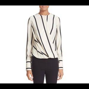 Rag & bone max stripe silk surplice blouse